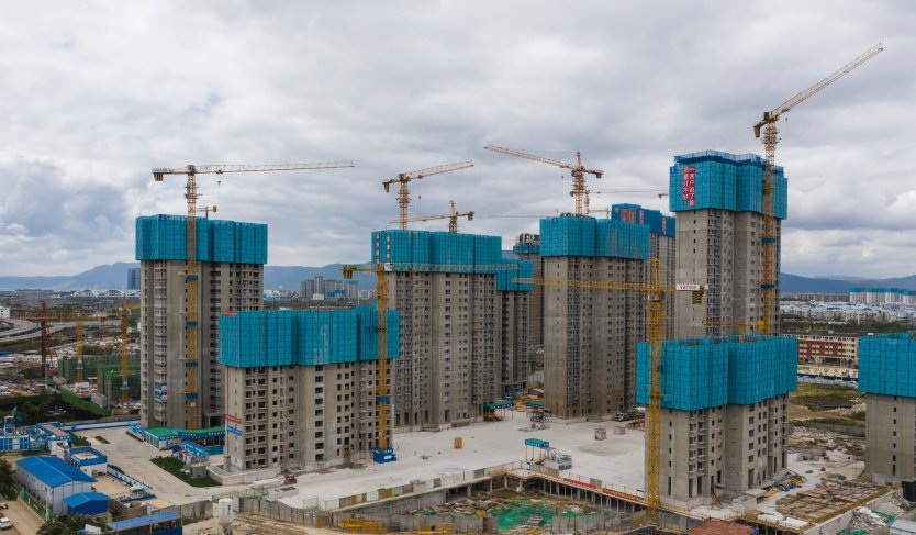China high-rise buildings in the process of construction in Kunming, China