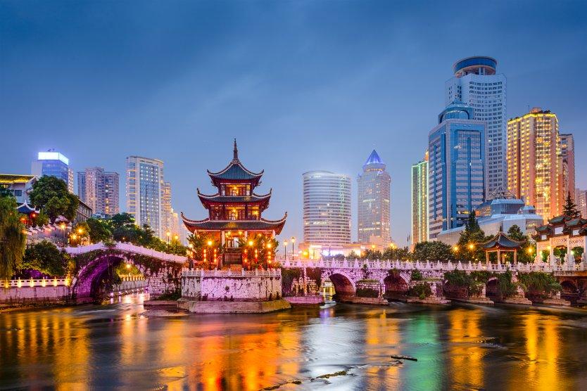Guiyang, China skyline at Jiaxiu Pavilion on the Nanming River