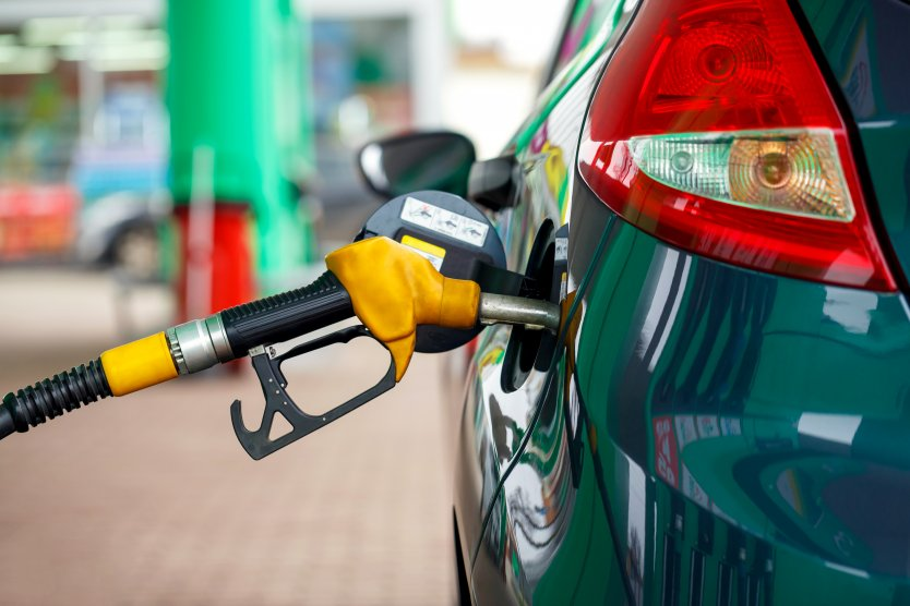 Close-up of a car refueling at a petrol station