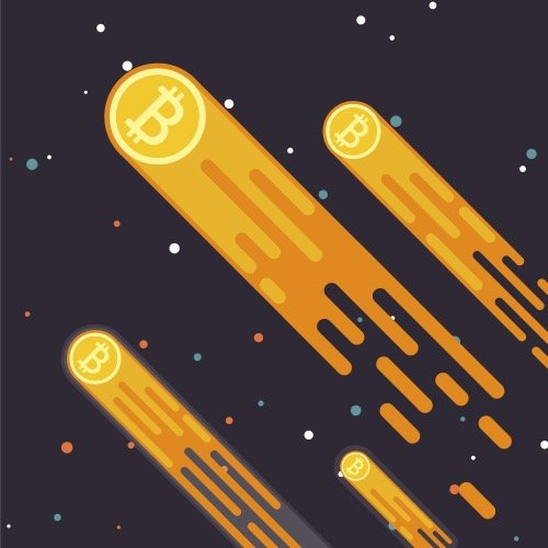 Illustration of gold and white bitcoins rocketing into the sky