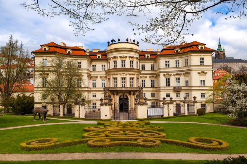 Lobkowicz Palace and backyard with beautiful gardening, Prague Castle, Czechoslovakia