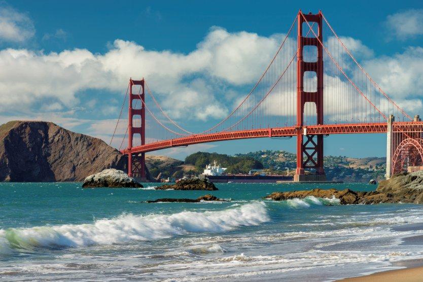 The Golden Gate bridge in California