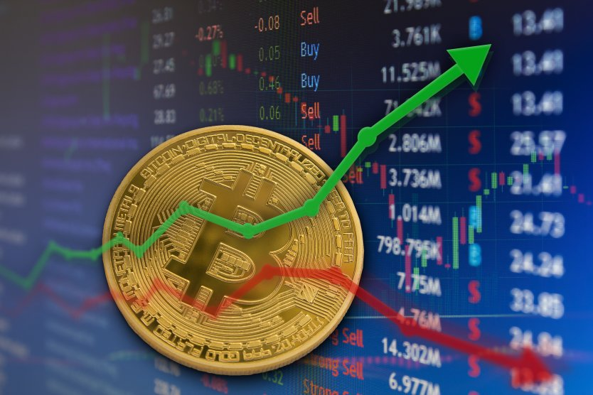 Bitcoin rising and falling in front of a financial chart